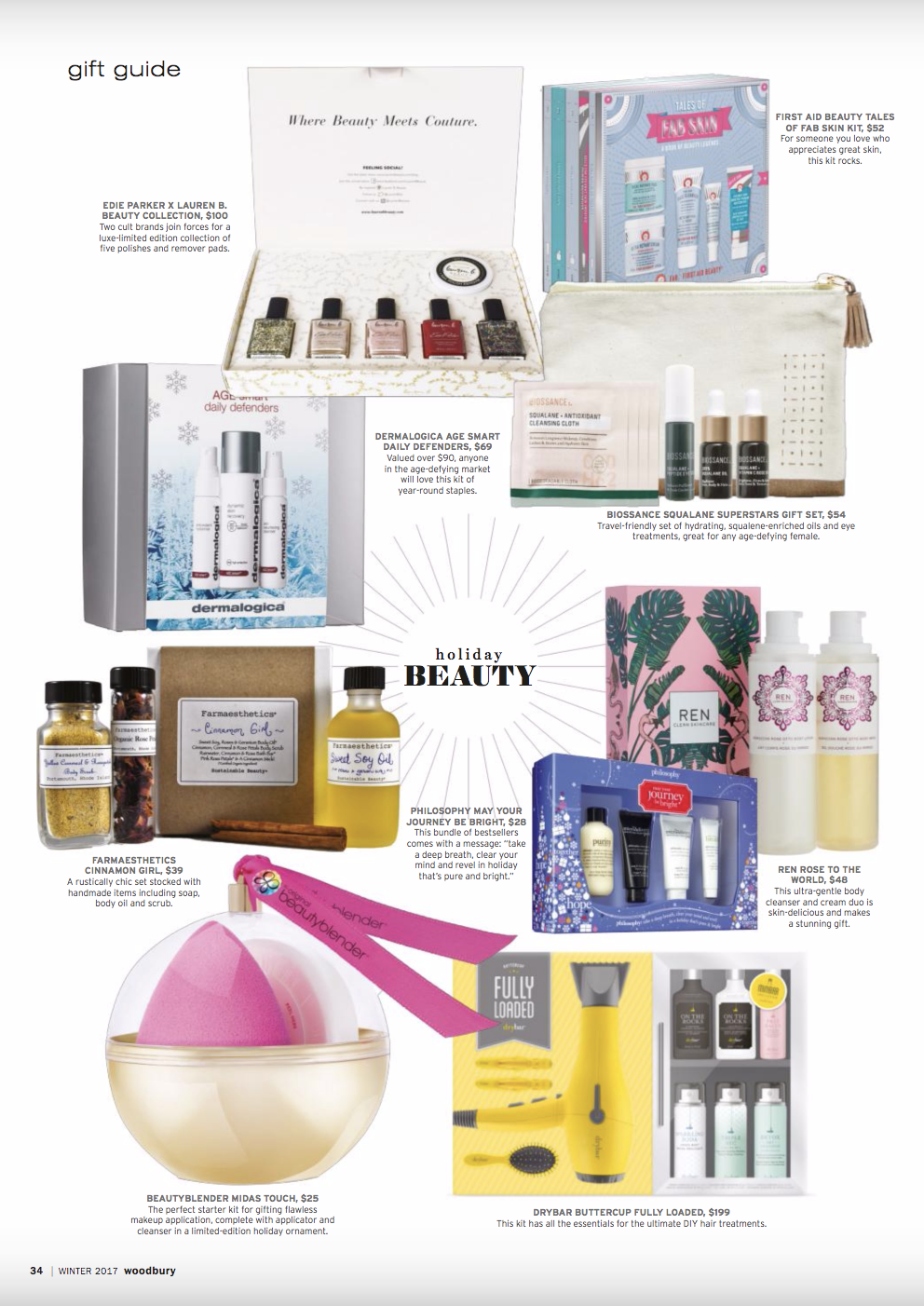 Woodbury Magazine Gift Guide Page 24 - featuring Lauren B. x Edie Parker Collection